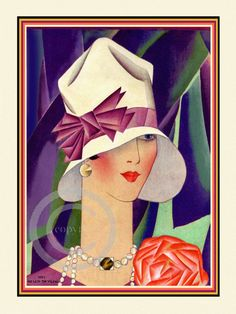 Whimsical Art Deco Flapper Wearing a by DragonflyMeadowsArt, $25.00