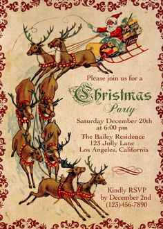 Hey, I found this really awesome Etsy listing at http://www.etsy.com/listing/169666107/christmas-party-invitation-santa-with