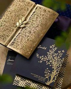 Gorgeous gold lattice & navy wedding invitations