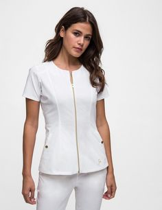 The Biker Top in White is a contemporary addition to women's medical scrub outfits. Shop Jaanuu for scrubs, lab coats and other medical apparel.