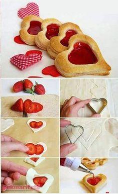 Marmelatlı kalpli milföyler..