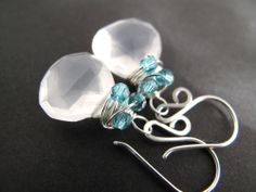 Glowing Moonstone Tornado Wrap Earrings w/ by bespangledjewelry, $42.00