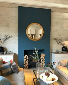 Ideas Home Living Room Diy Fireplaces Navy Living Rooms, Home Living Room, Interior, Blue Living Room, Feature Wall Living Room, Living Room Diy, Interior Design, Home And Living, Cosy Living Room
