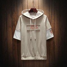 2019 New Mens Slim Fit Hip Hop Hoodie Casual Hooded T-Shirt Streetwear Japanese Short Sleeve Hoodie, Long Sleeve Tee Shirts, Short Sleeves, Jacket Style, Cotton Shorts, Custom Clothes, Hooded Sweatshirts, Street Clothing, Fashion Hoodies