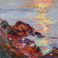 ONE DOLLAR AUCTION, COASTAL GLARE 6x6 in. ORIGINAL OIL PAINTING by TOM BROWN, painting by artist Tom Brown