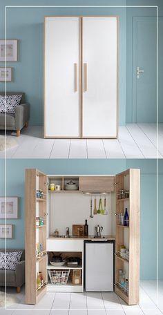 Trendy Kitchen Storage Diy Cabinets Tips Ideas Micro Kitchen, Small Space Kitchen, Diy Kitchen, Small Spaces, Kitchen Decor, Kitchen Ideas, Studio Kitchen, Kitchen Modern, Kitchen Living