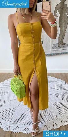 Spaghetti Strap Buttoned Slit Casual Dress Source by Outfits verano Dress Outfits, Fashion Dresses, Dress Hats, Dress Clothes, Modest Fashion, Spring Dresses Casual, Vintage Summer Dresses, Long Summer Dresses, Long Dresses