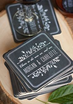 Chalkboard Wedding Coasters - For Save the Date! Wedding Favors And Gifts, Beach Wedding Favors, Wedding Souvenir, Party Favours, Chalkboard Wedding Invitations, Wedding Invitation Suite, Wedding Stationery, Invitation Wording, Invitation Design