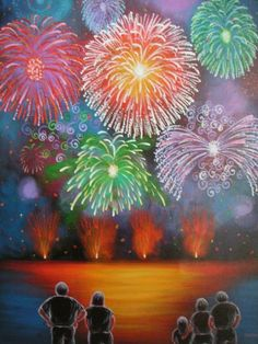 Fireworks painting.  New Year art idea