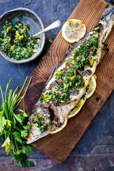 Grilling Recipes, Seafood Recipes, Cooking Recipes, Whole Fish Recipes, Gremolata Recipe, Clean Eating Guide, Grilled Fish, Baked Fish, Comfort Food