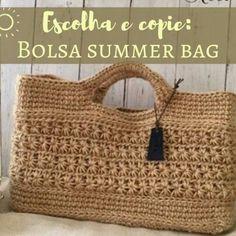 Escolha e copie: Modelos de bolsa Summer Bag Beginner Crochet Tutorial, Crochet Flower Tutorial, Crochet Patterns For Beginners, Bag Pattern Free, Crochet Basket Pattern, Crochet Diagram, Crochet Book Cover, Crochet Books, Crochet Handbags