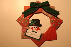 Origami Wreath by figaro - Cards and Paper Crafts at Splitcoaststampers Origami Wreath, Origami Decoration, Christmas Origami, Christmas Crafts, Christmas Ornaments, Punch Art, Snowman, Crafting, Paper Crafts
