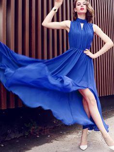 Ericdress Chiffon Stand Collar Plain Expansion Maxi Dress