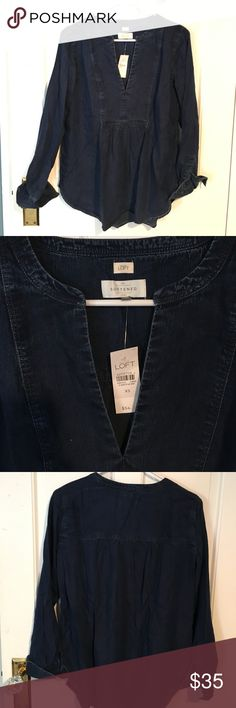 LOFT softened denim chambray tunic Dark blue denim tunic from LOFT. Never worn, new with tags LOFT Tops Tunics