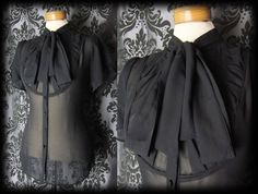 Goth Black Sheer CONTEMPTUOUS Pleated Bib Pussy Bow Blouse 12 14 Victorian Vintage High Neck Blouse, Bow Blouse, Sheer Blouse, Gothic Outfits, Alternative Fashion, Boutique Clothing, Gothic Clothing, Women's Clothing, Fashion Outfits