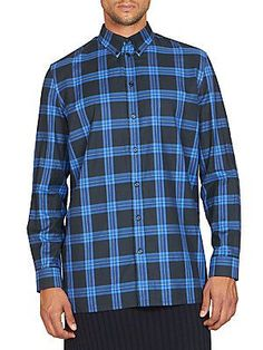 Givenchy Checked Sportshirt - Blue Black - Size