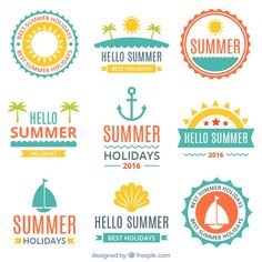 Flat summer and sailing stickers pack Free Vector