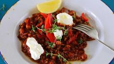 """Tomato freekeh risotto with labneh 