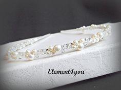 Swarovski pearls crystals Bridal Tiara headband white or ivory Beaded Silver metal band Hair Veil Flower girl Wedding accessories. $27.50, via Etsy.