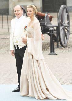 Prince Albert and his fiance Charlene Wittstock and the Swedish royal wedding, 2010.