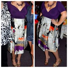 """Retro inspired midi dress Gorgeous purple dress, worn once for my retro wedding shower. The top is super stretchy and can accommodate ladies who are blessed! It has a side zip, and beautiful slimming wide pleats in the skirt! I am 5'8"""" in the photo above. Questions? Just ask! Igigi Dresses Midi"""