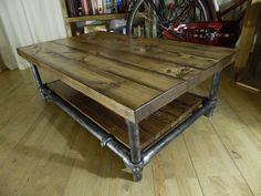 An perfect fusion of old and new, industrial and rustic, this beautiful coffee table is made using the finest reclaimed scaffolding wood and steel.