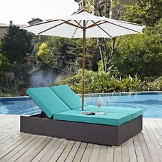 Convene Turquoise Fabric PE Rattan Double Outdoor Chaise Outdoor Patio Umbrellas, Outdoor Curtains, Rustic Patio, Pool Furniture, Outdoor Furniture, Pallet Furniture, Summer Porch, Lounge Decor, Wicker Lounge Chair