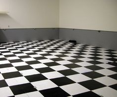 white and black checkered floor.