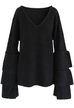 Attractive Black Ribbed Knit Sweater with Tiered Bell Sleeves - New Arrivals - Retro Indie and Unique Fashion Unique Fashion, Fashion Design, Modest Fashion, Fashion Fashion, Lace Tops, Cable Knit Sweaters, Sweater Weather, Vintage Tops, Rib Knit