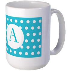 Monogrammed Turquoise Blue Polka Dot Mugs on CafePress.com