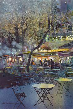 John T. Salminen (American, born 1945) watercolor 'Madison Square Park'