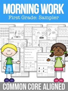 Morning Work Common Core Morning Work Part One First GradeHere you have it! An entire year of focused Common Core morning work at your fingertips. Make every second count by giving your kids standards-based morning work! I have designed these to work for First Grade Classroom, 1st Grade Math, Grade 1, Second Grade, Writing Activities, Teaching Resources, Teaching Ideas, Morning Activities, School Resources