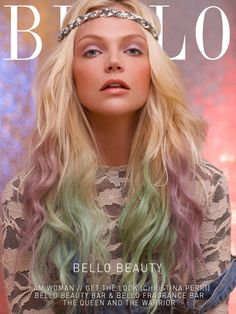 """20"""" Blonde Ombre with Pastel Green and Lavender Hair Extensions//7 Pieces//100 Grams. $169.99, via Etsy."""