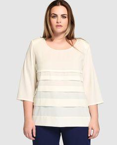 Blusa de mujer talla grande Talla y Moda con manga francesa y jaretas