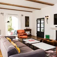 Comedy Couple Paul W. Downs and Lucia Aniello's Laid-Back Hollywood Dream Home | Architectural Digest Spanish Style Homes, Spanish House, Spanish Revival, Velvet Lounge, Mediterranean Home Decor, Indoor Outdoor Living, Luxury Apartments, Architectural Digest, Room Inspiration