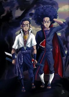 Boondocks (Riley and Huey) in Akatsuki mode Boondocks Drawings, Samourai Tattoo, Black Anime Characters, Black Comics, Dope Wallpapers, Hip Hop Art, Street Art, Black Artwork, Afro Art