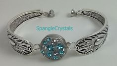 Teal Sparkle Feather Textured Band Cuff Bracelet With Custom Made Swarovski Crystal Changeable Snap And Magnetic Clasp. by SpangleCrystals on Etsy
