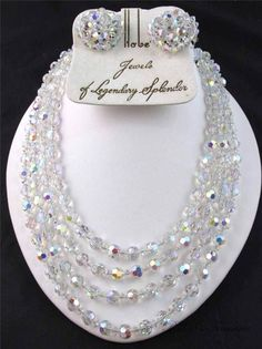 Vintage Signed HOBE Aurora Borealis AB Faceted Crystal Necklace & Earrings SET