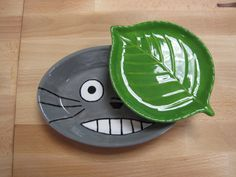 Totoro AND Leaf Plates by ColorMeClayful on Etsy, $26.00