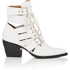 Chloé Women's Rylee Medium Leather Ankle Boots (8,740 CNY) ❤ liked on Polyvore featuring shoes, boots, ankle booties, ankle boots, white, round booties, lace-up bootie, leather lace up boots and lace-up booties