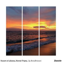 Sunset at Lahaina, Hawaii Triptych Wall Art wall art prints quotes free printables