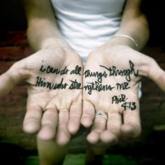 """I think the actual quote is """"through Christ who strengthens me"""" which is implied here, of course..."""