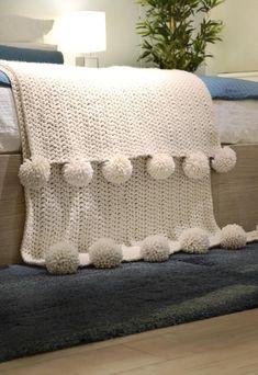 CROCHET PATTERN ⨯ Chunky Blanket Crochet Pattern, Pom Pom Blanket Crochet Pattern ⨯ Hygge Throw Blanket Crochet Pattern ⨯ - how to crochet chunky blanket Basic Crochet Stitches, Crochet Basics, Crochet Blanket Patterns, Knitting Patterns, Knitting Ideas, Chunky Crochet, Crochet Baby, Knit Crochet, Simple Crochet