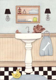 Yorkshire terrier (yorkie) bathing in a sink / Lynch signed folk art print by watercolorqueen on Etsy
