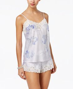 Lauren Ralph Lauren Lace-Trimmed Satin Cami and Shorts Pajama Set Blue Floral XS - Pajama Sets - Ideas of Pajama Sets Lingerie Outfits, Women Lingerie, Sexy Lingerie, Pajama Bottoms, Pajama Shorts, Sleepwear Women, Lingerie Sleepwear, Silk Sleepwear, Nightwear