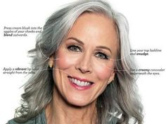 Here are seven steps to gorgeous party makeup for gray hair. It's just enough color to stand out in the evening.