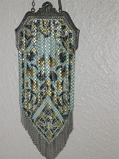 Vintage Mandalian Mesh Purse - Ornate Silvertone Frame, Very Colorful, NICE!