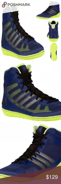 "Adidas Mat Wizard 3 Wrestling Shoes Adidas Mat Wizard 3 Wrestling Shoes Mens David Taylor Navy Silver Lime Green   Product #: S77967 Designed with the help of ""Magic Man"" David Taylor, the adidas Mat Wizard is the perfect shoe to give you an edge. With a snug, sock-like upper and midfoot Three Stripes for support, the adidas Mat Wizard gives you the freedom you need to outwork your opponent and the protection to attack with confidence.  Breathable mesh upper with flexible TPU Three Stripes…"