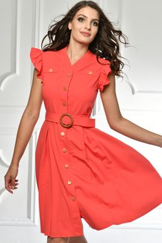 Summer Viber in coral color Coral Dress, Coral Color, Timeless Fashion, Shirt Dress, Summer Dresses, Womens Fashion, Shirts, Design, Shirtdress