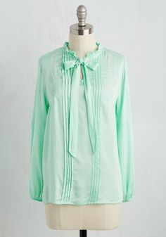 Take a New Intern Top. Standing before the class in this mint blouse, you feel ready to deliver your premier lecture with poise. #mint #modcloth